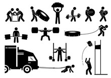 Strength Athletics Strongman Competition Icons. Stick Figure Depicts Participant Of Strongman Event Competing Their Power Strength, Energy, And Endurance.