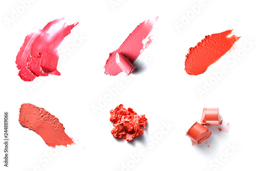 red lipstick texture with white background Fototapet