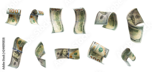 Collection of flying banknotes of hundred dollars. View from different angles.