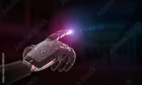 Red robot hand pointing finger 3D rendering