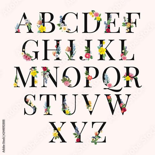 Wallpaper Mural Alphabet floral background illustration