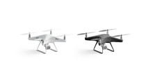 Blank Black And White Quadrocopter Mockup Set, Stand Isolated,