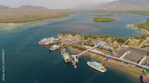 Foto op Aluminium Kust Aerial view ferry port gilimanuk with ferry boats, vehicles. Ferries transport vehicles and passengers in port. Port for departure from Bali to the island of Java.