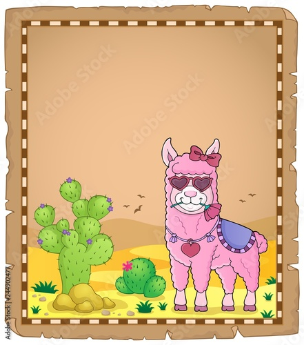 Llama with love glasses parchment 1