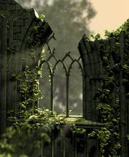 Gothic Old Ruins Covered With Ivy