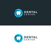 Modern Minimal Dentist Logo Design. Abstract Circle Swirl Tooth Icon Logotype. Dental Clinic Vector Sign Mark Icon.