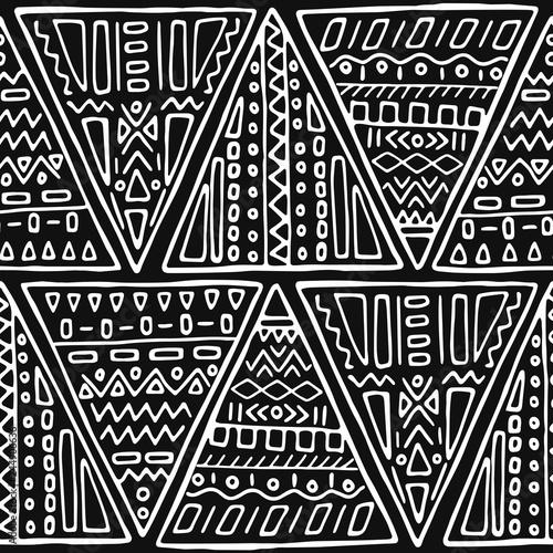 czarny-i-bialy-handmade-plemienny-bezszwowy-wzor
