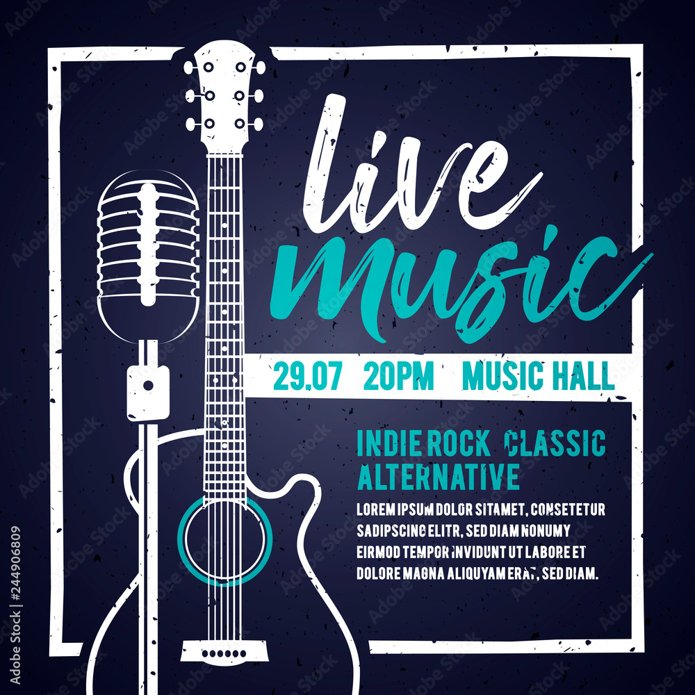 Fototapeta Vector illutration banner with an acoustic guitar and a microphone for concert, live music and party