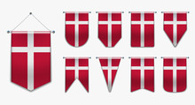 Set Of Hanging Flags Of The DENMARK With Textile Texture. Diversity Shapes Of The National Flag Country. Vertical Template Pennant For Background, Banner, Web Site, Logo,award, Achievement, Festival.