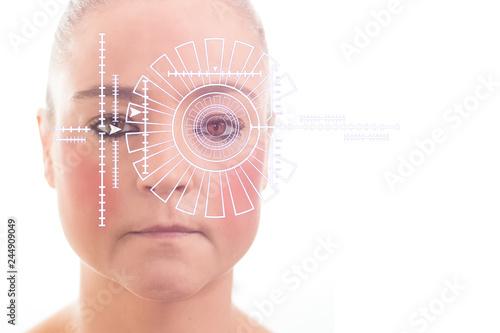 Fotografía  Security scan of woman iris or retina to determine identity