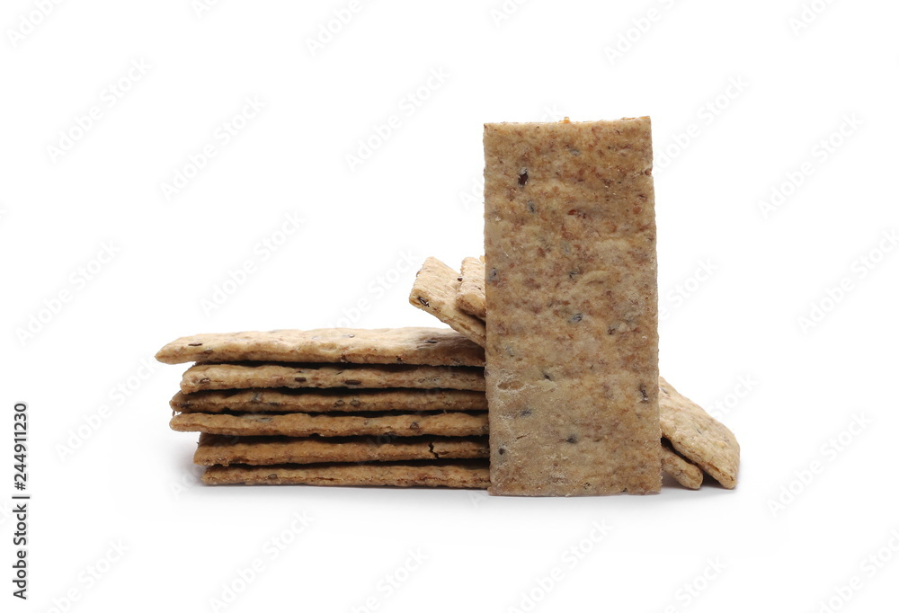 Fototapeta Integral linseed crackers isolated on white background