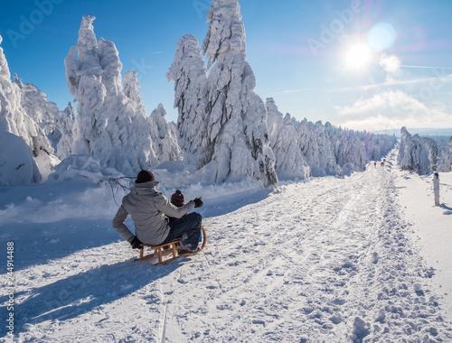 Schlitten fahren auf dem Fichtelberg