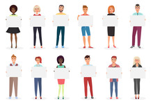 Happy Smiling Young Men And Women People Holding Clean Empty Placards, Cards, Posters, Boards Vector Illustration.