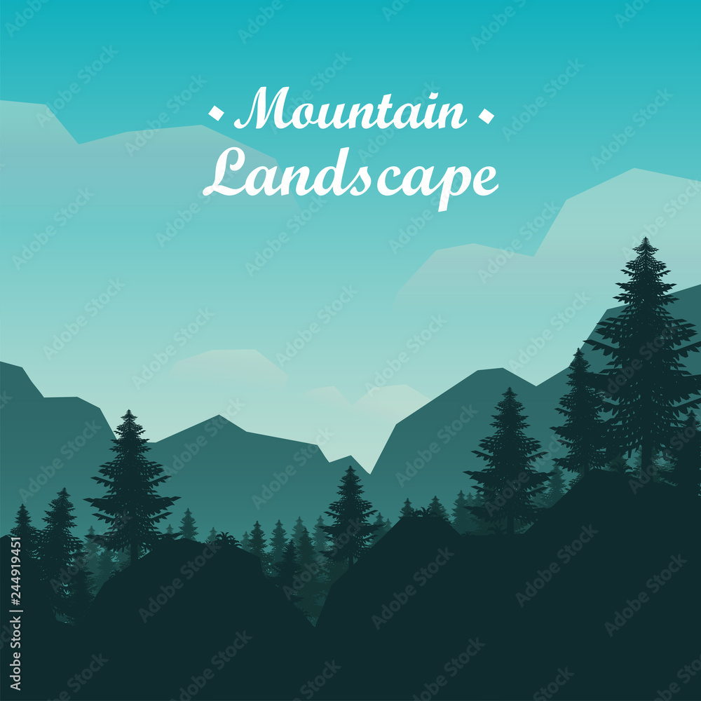 Fototapeta Mountain landscape with trees, Vector illustration - obraz na płótnie