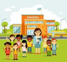 School Building And School Chi...