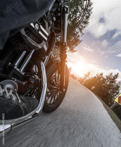 Detail of motorcycle driving in Alpine road Wallpaper Mural