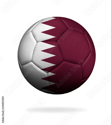 Fotografia  The flag of Qatar is depicted on a soccer ball Isolated on white background
