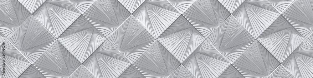 Fototapety, obrazy: Creative Wide Silver Metal Design (Website head) (3d Illustration)