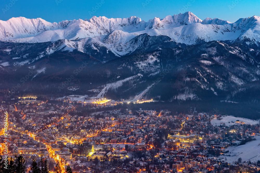 Fototapety, obrazy: Zakopane nocą, panorama Tatr