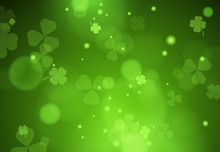 Background With Falling Clover Leaves. Saint Patrick Day Background. Can Be Used For Topics Like Symbol Of Ireland, Nature, Summer