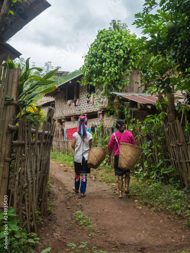 Fotografie, Obraz  Mae Hong Son/ Thailand - June 21,2018 : Karen tribe women in village