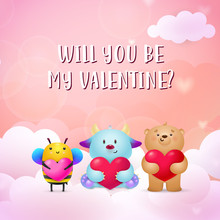 Be My Valentine Poster Design. Cute Monster, Bee And Teddy Bear Holding Hearts On Pink Background With Clouds. Illustration Can Be Used For Posters, Banners, Greeting Cards