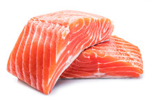Fresh Raw Salmon Fillets On Wh...