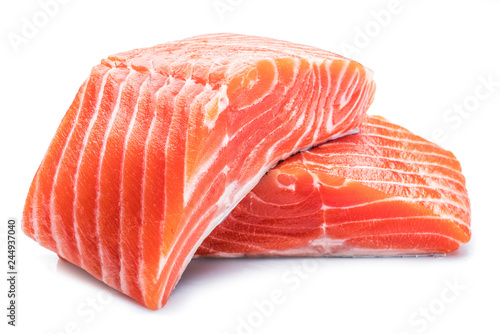 Fresh raw salmon fillets on white background. Fototapeta