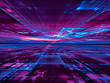 canvas print picture Blue and purple technology background with perspective and glowing grid