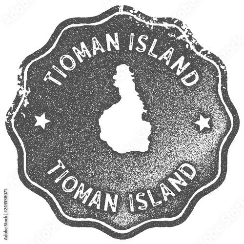 Tioman Island map vintage stamp Canvas Print
