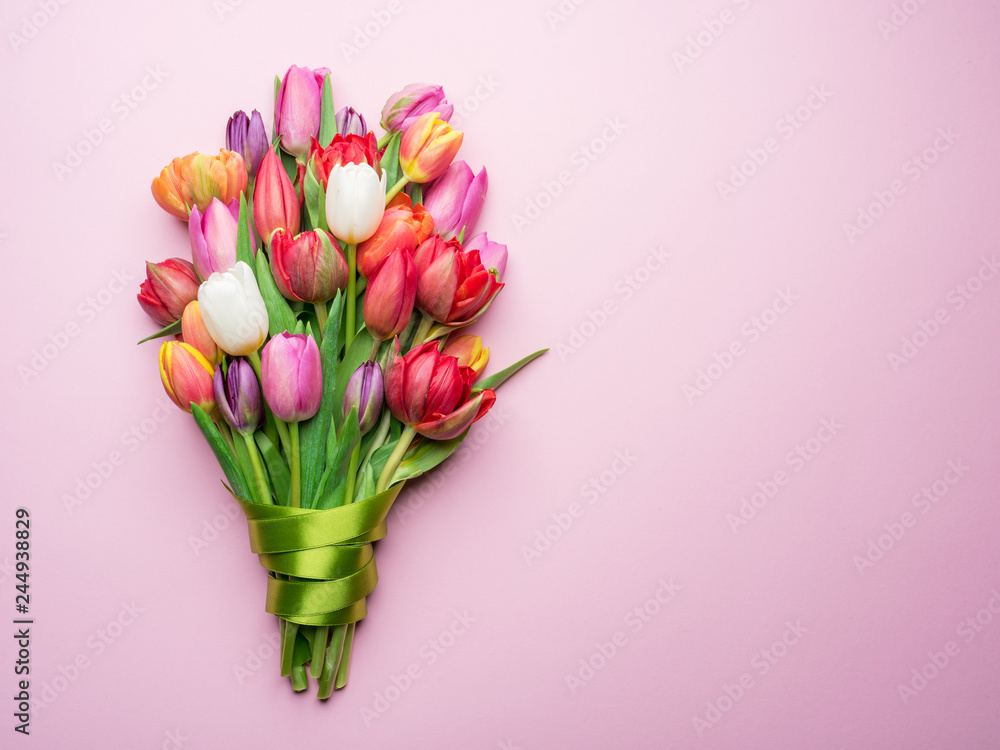 Fototapety, obrazy: Colorful bouquet of tulips on white background.