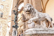 19 OCTOBER 2018, FLORENCE, ITALY: Medici Lion Statue
