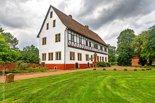 Photo City Hall of Bodenwerder, Germany which was the manor house that Baron Munchausen was born in 1720