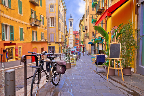 Nice colorful street architecture and church view