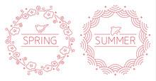 和風モダン刺繍模様 - 鳥と季節(春の梅と鶯/夏の千鳥と青海波)丸型縁飾り枠