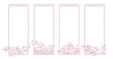 和風モダン刺繍模様 - 鳥と季節 春夏秋冬(春の梅と鶯/夏の千鳥と青海波/秋のふくら雀、雲とすすき/冬の鶴、松と雲)縦型長方形飾り枠