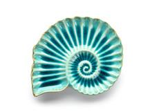 Stylish Plate In Shape Of Seashell On White Background