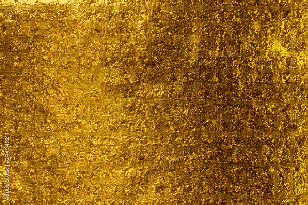 Fototapety, obrazy:  fond feuille d'or jaune briques de verre
