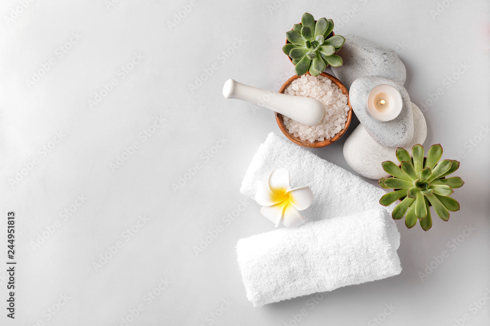 Fototapeta Beautiful spa composition on light background