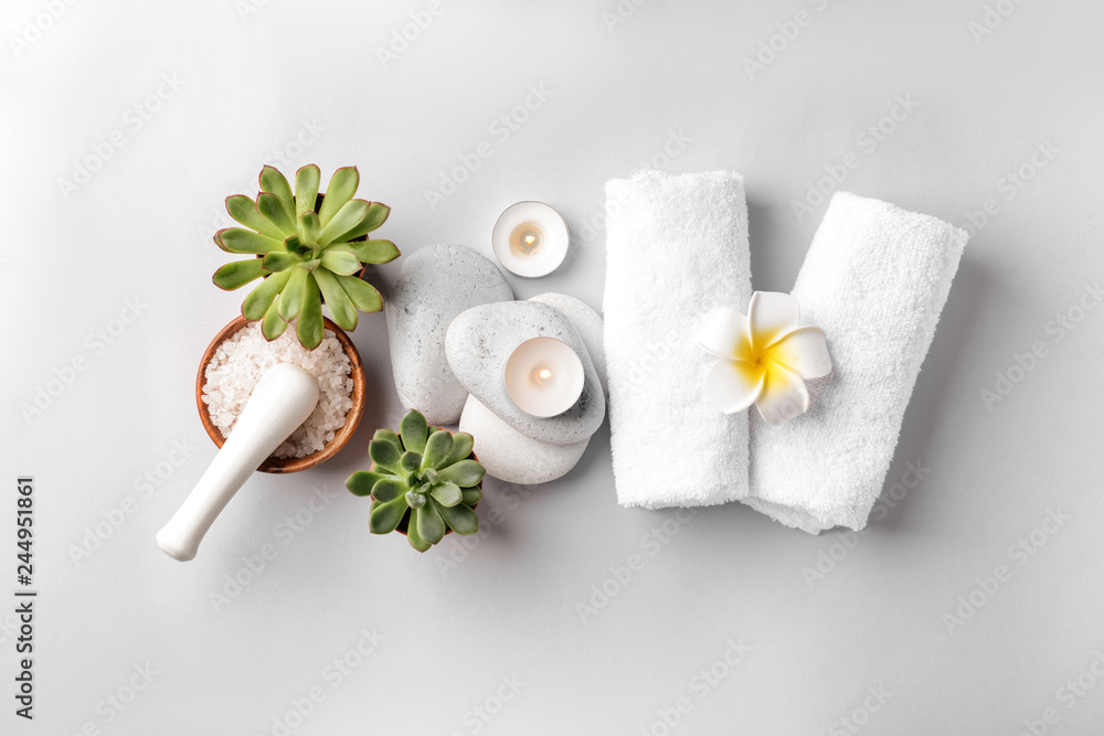 Fototapety, obrazy: Beautiful spa composition on light background