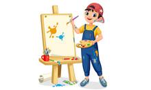 Artist Boy Painting On Canvas