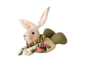 Rag Easter Bunny Isolated On W...
