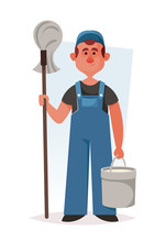 Funny Janitor With Mop And Bucket Of Water. Cartoon Style. Vector Illustration