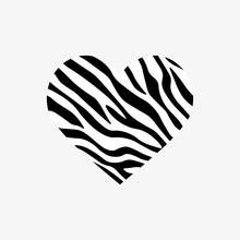 Heart Shaped Zebra Print. Vect...