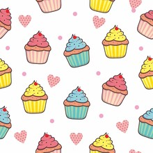 Cupcake Seamless Pattern Background With Pink Color