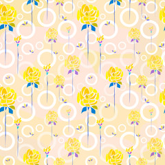 Composite geometric and floral art vector seamless pattern. Hand drawn roses flowers and circles on peachy background for textile, wallpaper, wrapping, cover, web, carton, print, banner, ceramics.