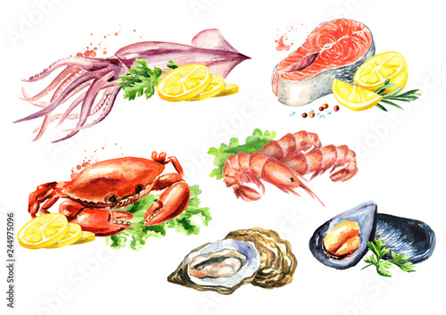Seafood composition set with salmon, squid, crab, mussels, oysters, shrimp, lemo Canvas-taulu