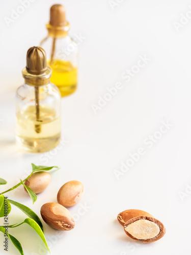 Bottles with oil argan nuts Wallpaper Mural