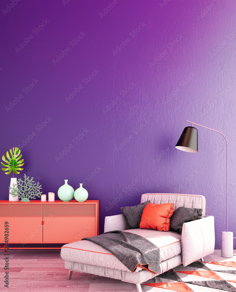 Fototapety, obrazy: living interior design in classic style with decoration set on sideboard, velvet armchair on wooden floor and violet wall,3d illustration,3d rendering