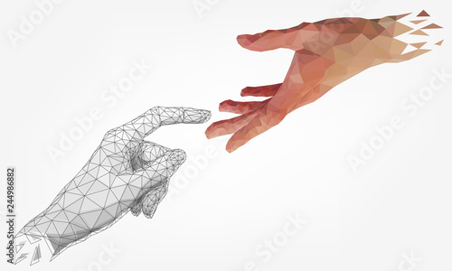 Fotografie, Obraz  Low polygonal hands, human and robot arms, partnership of people and robots, com